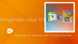 Pengenalan Lotus 123 Starting Lotus 123 Pengenalan Sintaks
