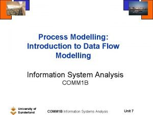 Process Modelling Introduction to Data Flow Modelling Information