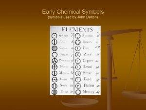 Early Chemical Symbols symbols used by John Dalton