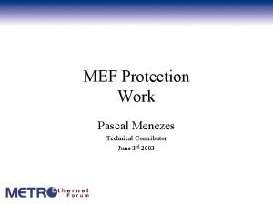 MEF Protection Work Pascal Menezes Technical Contributor June