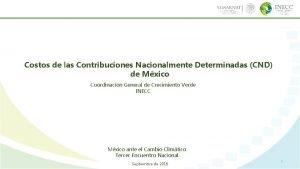 Costos de las Contribuciones Nacionalmente Determinadas CND de