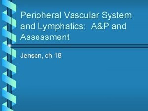 Peripheral Vascular System and Lymphatics AP and Assessment