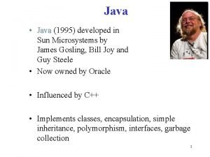 Java Java 1995 developed in Java Sun Microsystems