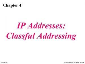 Chapter 4 IP Addresses Classful Addressing Mc GrawHill