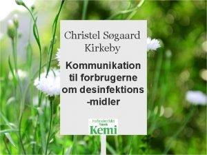 Christel Sgaard Kirkeby Kommunikation til forbrugerne om desinfektions