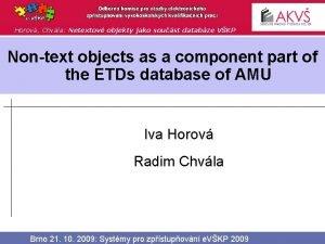 Horov Chvla Netextov objekty jako soust databze VKP