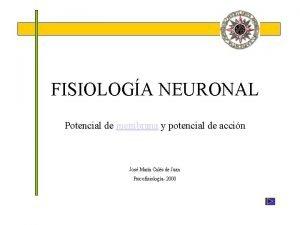 FISIOLOGA NEURONAL Potencial de membrana y potencial de