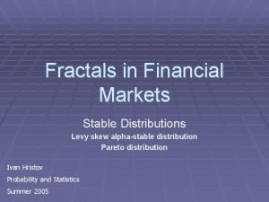 Fractals in Financial Markets Stable Distributions Levy skew
