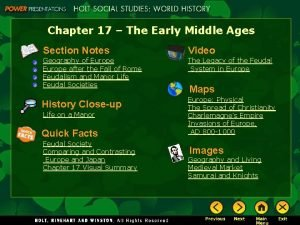 Chapter 17 The Early Middle Ages Section Notes