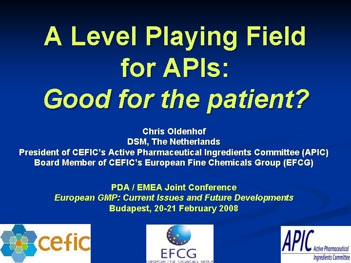 A Level Playing Field for APIs Good for