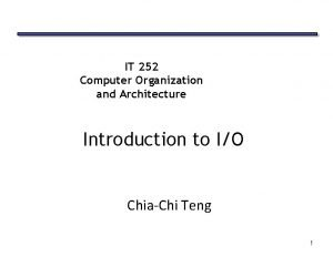 IT 252 Computer Organization and Architecture Introduction to