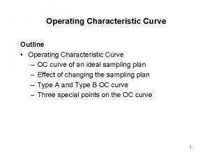 Operating Characteristic Curve Outline Operating Characteristic Curve OC