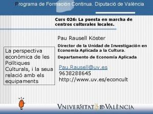 Programa de Formacin Continua Diputaci de Valncia Curs