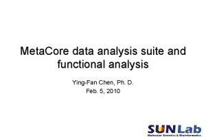 Meta Core data analysis suite and functional analysis