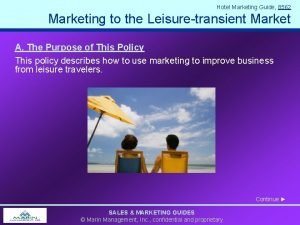 Hotel Marketing Guide 8562 Marketing to the Leisuretransient