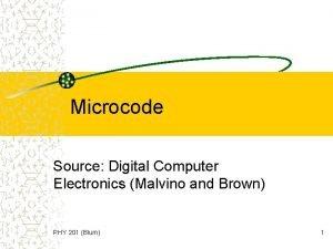 Microcode Source Digital Computer Electronics Malvino and Brown