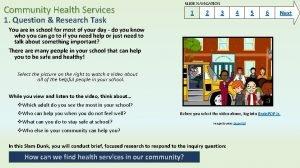 SLIDE NAVIGATION Community Health Services 1 1 Question
