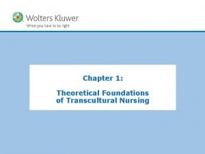 Chapter 1 Theoretical Foundations of Transcultural Nursing Copyright