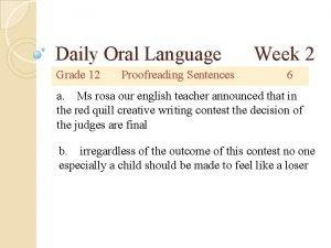 Daily Oral Language Grade 12 Proofreading Sentences Week