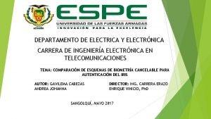 DEPARTAMENTO DE ELECTRICA Y ELECTRNICA CARRERA DE INGENIERA