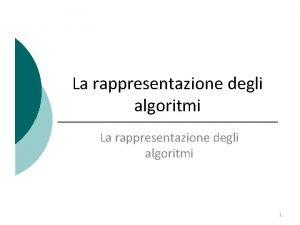 La rappresentazione degli algoritmi 1 Algoritmo Un algoritmo