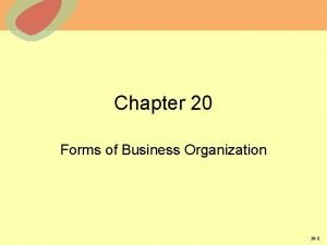 Chapter 20 Forms of Business Organization 20 1