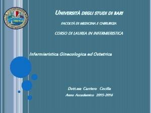 UNIVERSIT DEGLI STUDI DI BARI FACOLT DI MEDICINA