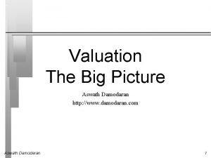 Valuation The Big Picture Aswath Damodaran http www