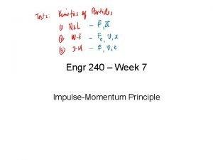 Engr 240 Week 7 ImpulseMomentum Principle Principle of