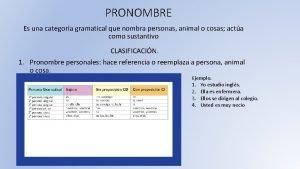 PRONOMBRE Es una categora gramatical que nombra personas