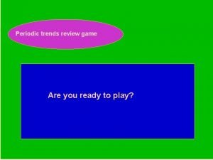 Periodic trends review game Periodic Trends Review Game