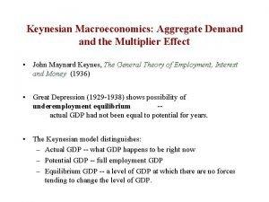 Keynesian Macroeconomics Aggregate Demand the Multiplier Effect John