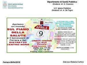 Dipartimento di Sanit Pubblica Direttore dr G Cosenza