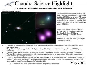 Chandra Science Highlight SN 2006 GY The Most
