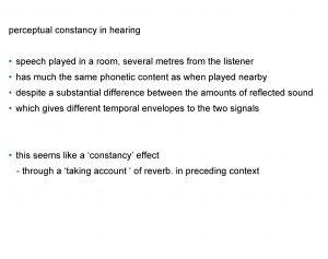 perceptual constancy in hearing speech played in a