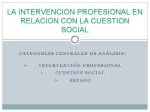 LA INTERVENCION PROFESIONAL EN RELACION CON LA CUESTION