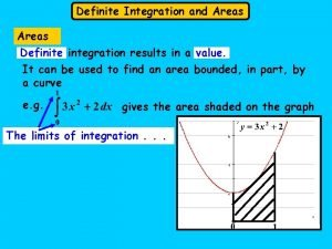 Definite Integration and Areas Definite integration results in