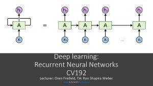 Deep learning Recurrent Neural Networks CV 192 Lecturer
