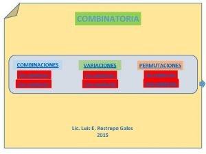 COMBINATORIA COMBINACIONES VARIACIONES PERMUTACIONES Sin repeticin Con repeticin