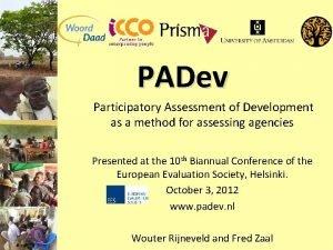 PADev Participatory Assessment of Development as a method