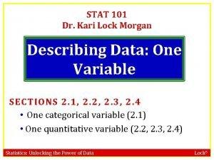 STAT 101 Dr Kari Lock Morgan Describing Data