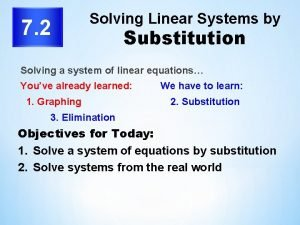 7 2 Solving Linear Systems by Substitution Solving