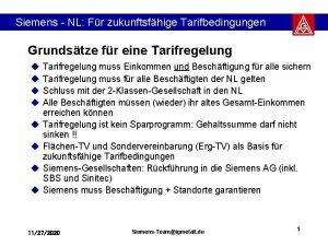 Siemens NL Fr zukunftsfhige Tarifbedingungen Grundstze fr eine