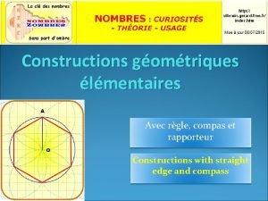 Constructions gomtriques lmentaires Avec rgle compas et rapporteur