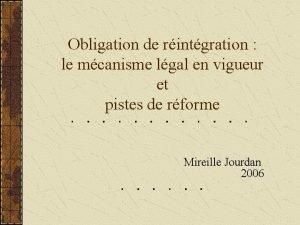 Obligation de rintgration le mcanisme lgal en vigueur