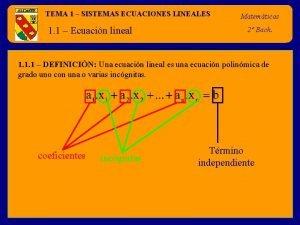TEMA 1 SISTEMAS ECUACIONES LINEALES 1 1 Ecuacin