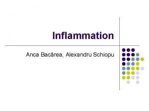 Inflammation Anca Bacrea Alexandru Schiopu Definition l Inflammation