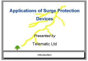 Applications of Surge Protection Devices Presented by Telematic