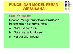 FUNGSI DAN MODEL PERAN WIRAUSAHA 1 Profil Wirausaha