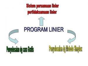 Persamaan Linier PL Penyelesaian PL dg eleminasi Penyelesaian